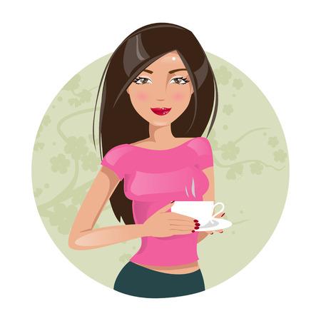 一杯のコーヒーと美しい少女のイラスト  イラスト・ベクター素材