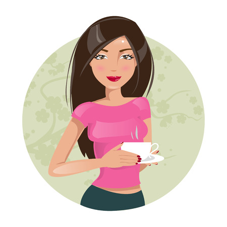 Illustration of a beautiful girl with a cup of coffee Vettoriali