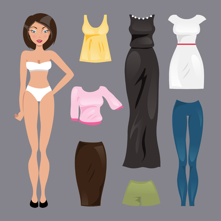 Collection of fashionable clothes for paper dolls Stock Illustratie