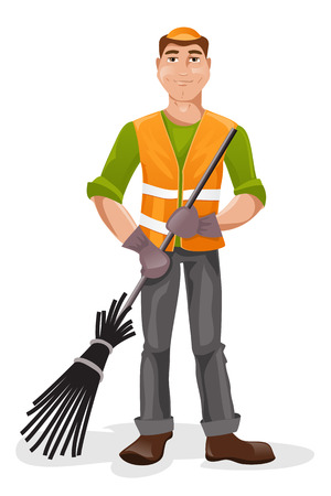besom: Cartoon man janitor with a broom in his hand