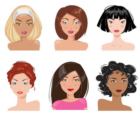 Définir des femmes avec différents types de regards et coiffures Vecteurs