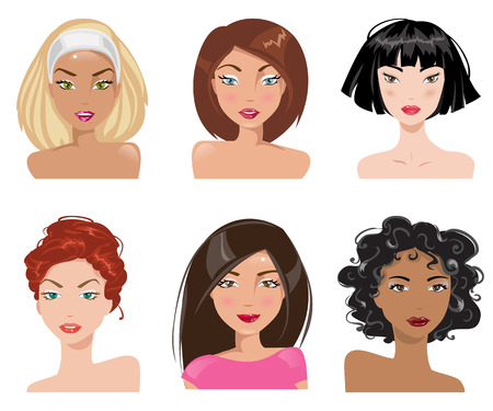 Set of women with different types of looks and hairstyles Illustration
