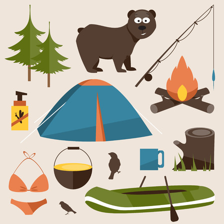 camping tent: Collection has facilities for camping, including a tent, fire, forest, bear bait, boat