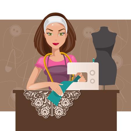 seamstress: Cartoon seamstress in the studio working on the sewing machine