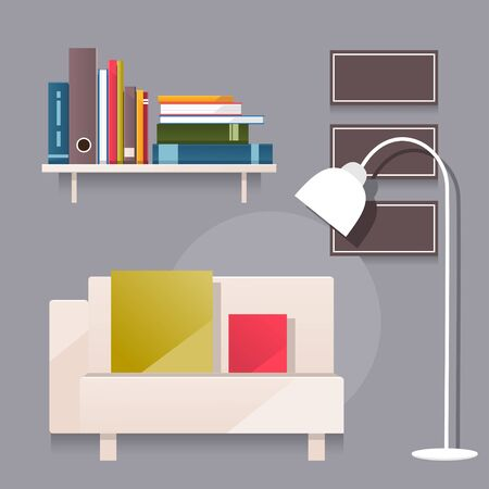 bookcase: Illustration fabulous modern living room with sofa and bookcase