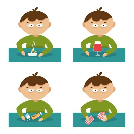 caricaturas de personas: Conjunto de ilustración vectorial sobre el tema de los malos hábitos Vectores