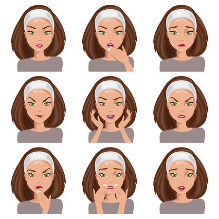 Isoliert junge Frau mit verschiedenen Emotionen auf ihrem Gesicht