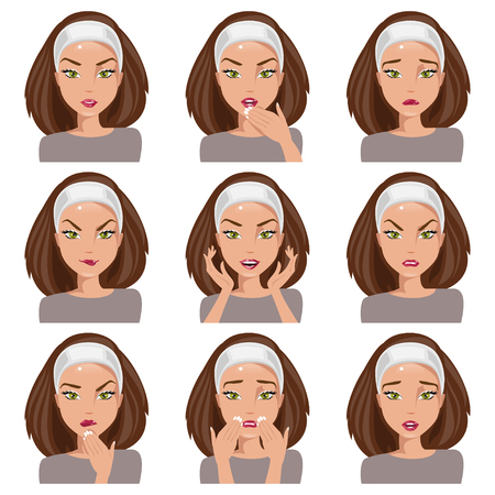 gestos de la cara: Mujer joven aislada con diferentes emociones en su rostro