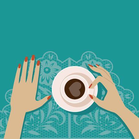 Girl with a coffee cup in hand. Top view Stock Illustratie