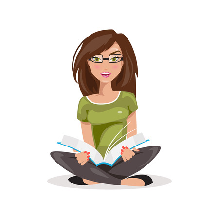 reading glasses: Illustrations of a beautiful girl sitting and reading a book Illustration