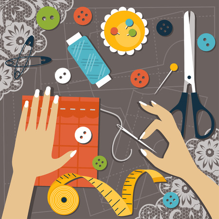 sewing pattern: Illustration set of sewing tools and hands doing the work