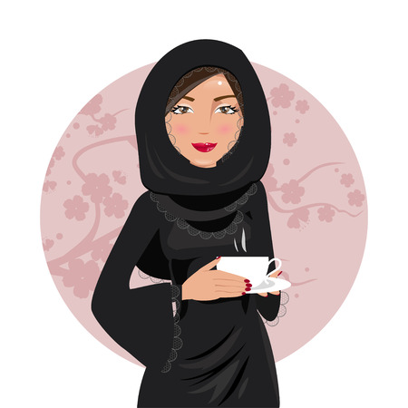national costume: Muslim woman in national costume holding coffee in hand