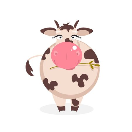 chewing: Illustration cartoon funny spotted cow chewing grass Illustration