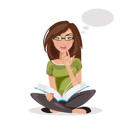 mujer pensando: La niña está sentada con un libro en la mano y el pensamiento