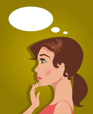 personas pensando: Ilustración de una mujer joven que piensa y decide