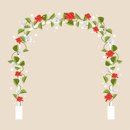 白いバラのアーチとカード、招待状のデザインのテキストのための場所の葉