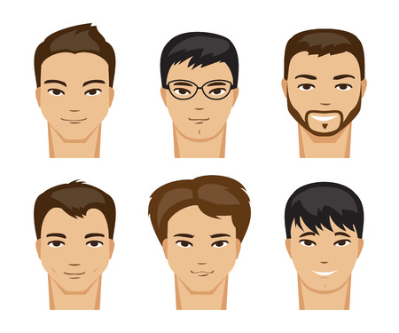 hairstyle: Illustration of a set of men with different types of looks and hairstyles Illustration