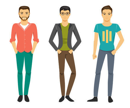 self confident: Collection of men in the modern fashion clothing Illustration