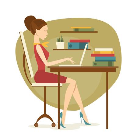 secretaria: Secretaria de la mujer de negocios que está sentado en la mesa y trabajar con un ordenador portátil