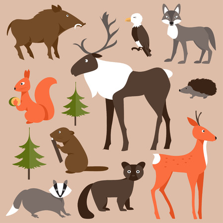 Collection of forest animals on a brown background Illustration
