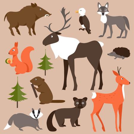 Het verzamelen van dieren in het bos op een bruine achtergrond
