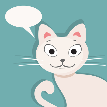 white cat: Illustration of a beautiful white cat with space for text Illustration