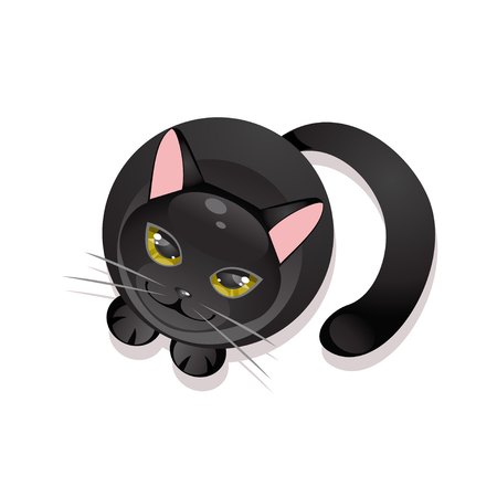 stylised: Sitting black cat on a white background. Top view