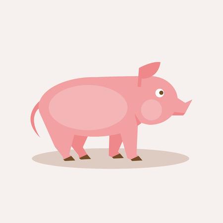 Flat pink pig illustration for your design