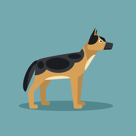 alsatian: The flat illustration German Shepherd for your design