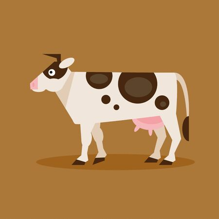 hoofed mammal: Flat spotted cow illustration for your design