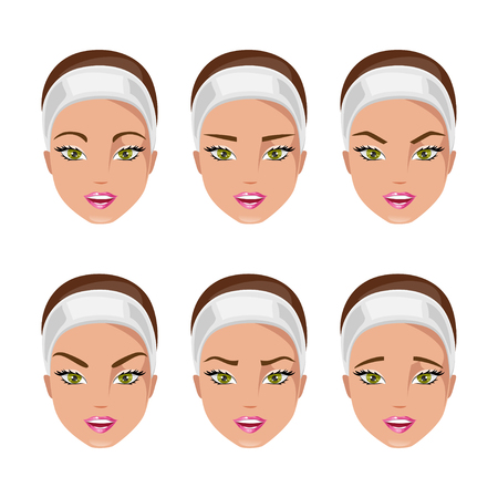 Set of women with different types of eyebrows