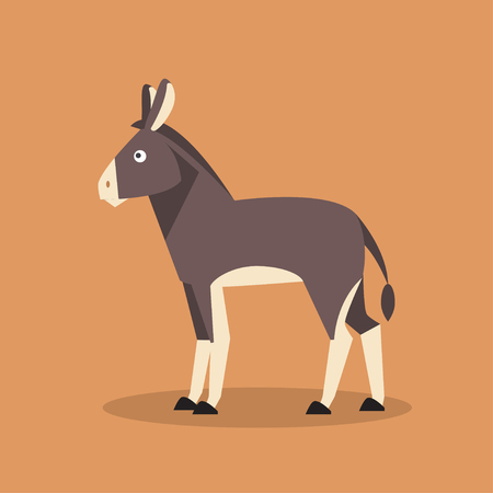 Cartoon home cute donkey. Flat vector illustration