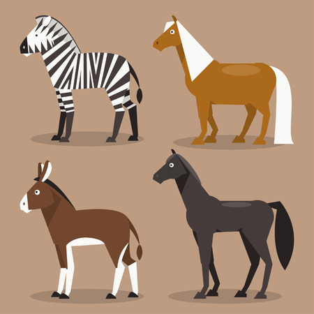 Illustration of different breeds of horses, zebras, ponies and a donkey