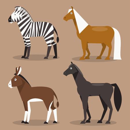 zebra: Ilustración de diferentes razas de caballos, cebras, caballos y un burro