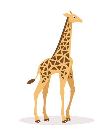camelopard: Flat cartoon illustration of a giraffe on a white background