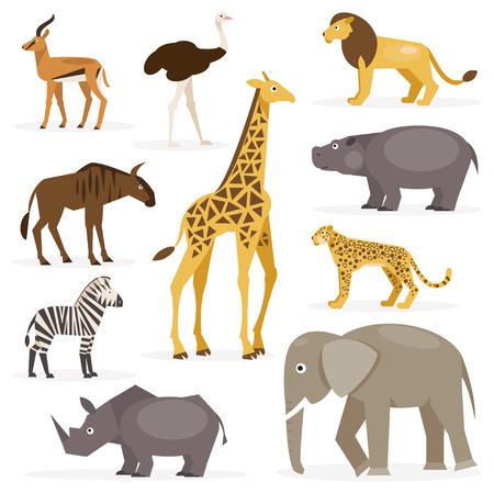 animales salvajes: Colecci�n de dibujos de animales de la sabana en un fondo blanco