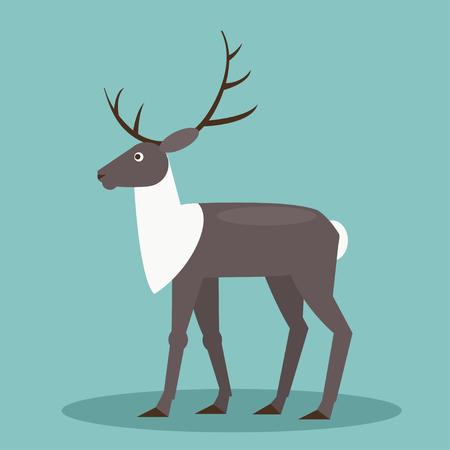 тундра: Иллюстрация мультфильм олень на синем фоне