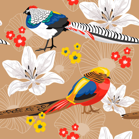 pheasant: Seamless nature pattern with flowers and pheasants