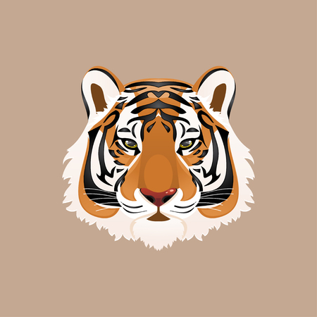 mustached: Illustration tiger head on a brown background
