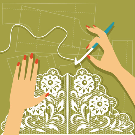 Illustration of hand crochet knitting. Top view