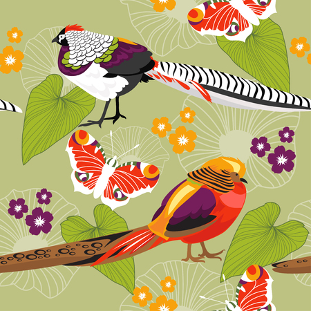 pheasant: Seamless nature pattern with pheasants and butterflies Illustration