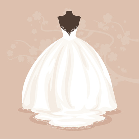 White satin wedding dress with lace and a loop back