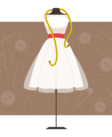 centimeter: Mannequin with dress and centimeter on sewing background