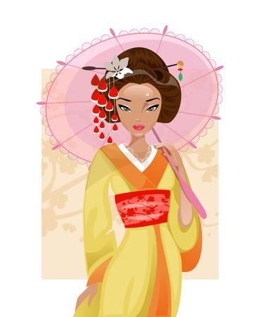 Illustration geisha with an umbrella on a background of cherry Illustration