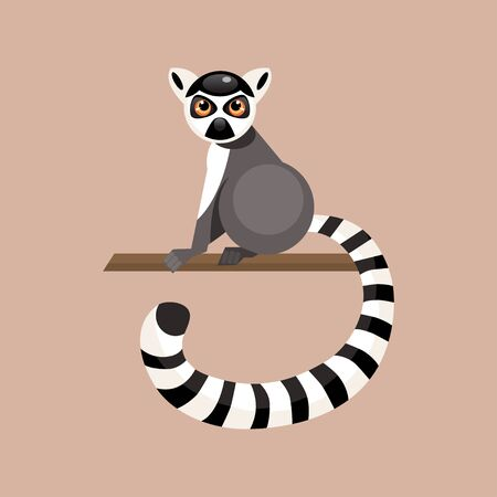 poser: Illustration cartoon lemur sitting on a branch