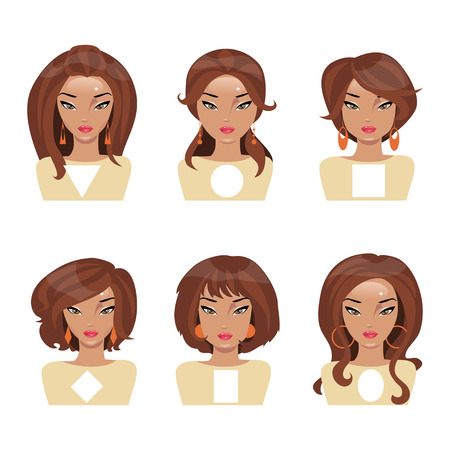 Different face shapes and matching hair and earrings Stock Illustratie