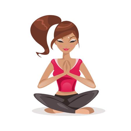 蓮華座に座っている女性のイラスト  イラスト・ベクター素材