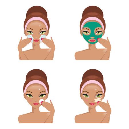 moisturizing: Illustration stages of skin care. Scrub, mask, cleansing and moisturizing cream Illustration