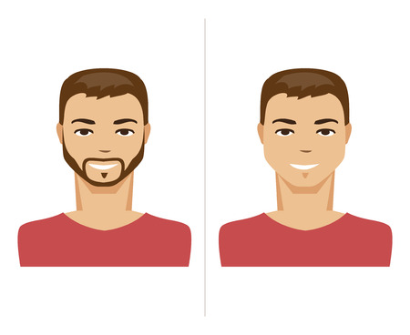 cartoon faces: Illustration of a man with a beard and unshaven man