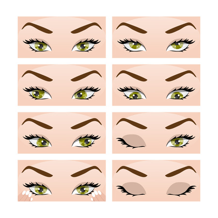 myopia: Illustration with different exercises for the eyes